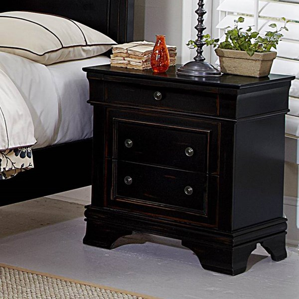 Derby Run Traditional Rusticated Black Wood Night Stand HE-2223-4