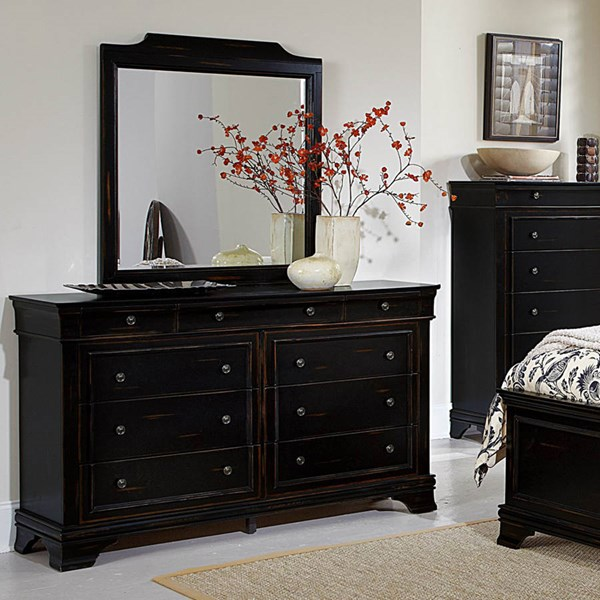 Derby Run Traditional Rusticated Black Wood Glass Dresser And Mirror HE-2223-DRMR