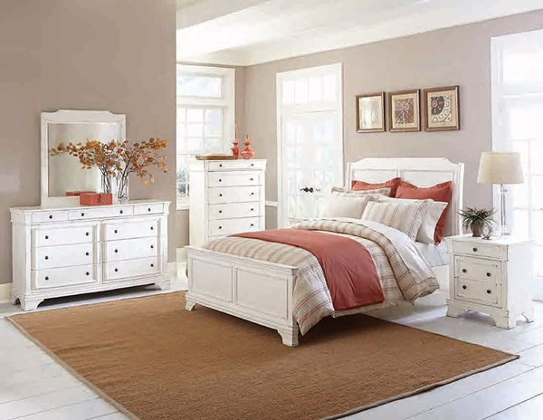 Derby run traditional white wood master bedroom set the - Traditional white bedroom furniture ...