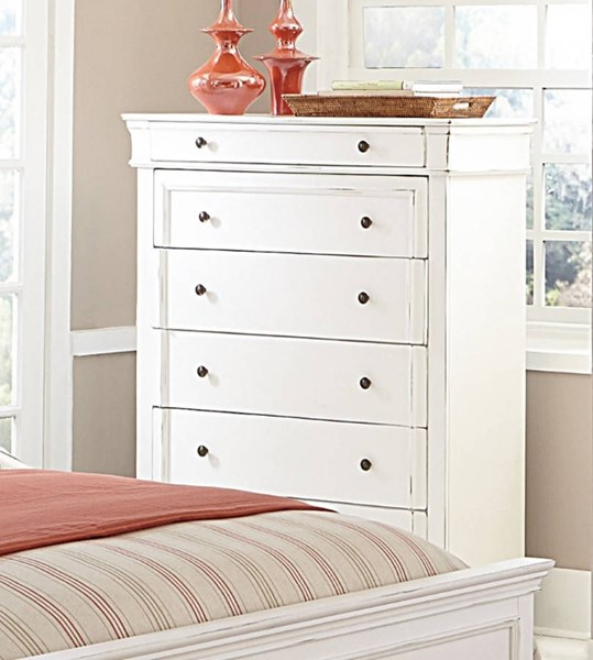 Derby Run Traditional White Wood Drawer Chest HE-2223W-9