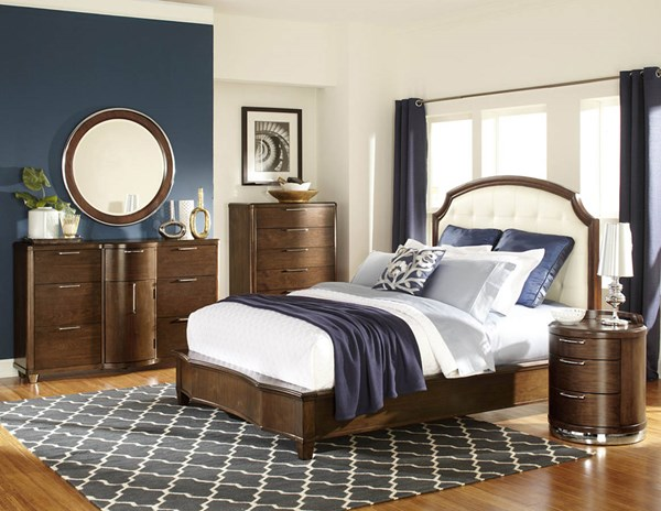 Zelda Warm Cherry Wood Glass Chrome 2pc Bedroom Set W/King Bed HE-2238-BR-S2