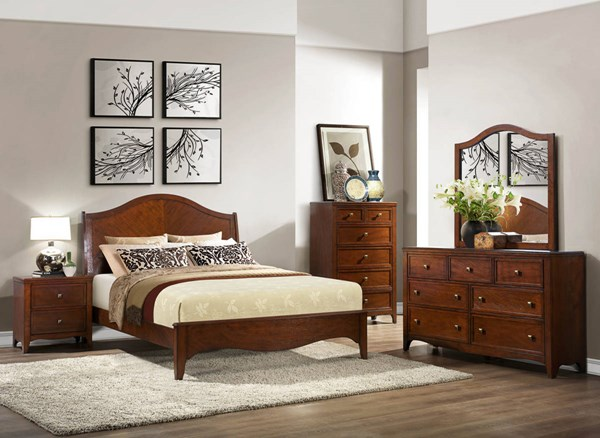 Verity Transitional Cherry Wood Master Bedroom Set HE-2239-BR