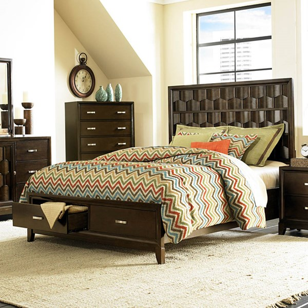 Darien Modern Espresso Wood Queen Platform Bed w/Footboard Storages HE-2242-1