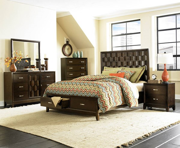 Darien Modern Rich Espresso Wood Glass 2pc Bedroom Set W/Queen Bed HE-2242-BR-S1