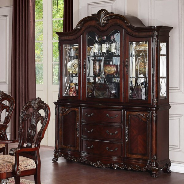 Deryn Park Traditional Cherry Wood Glass Buffet And Hutch HE-2243-50