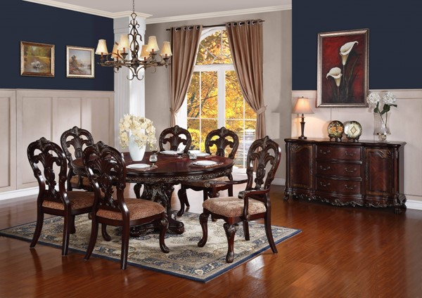 Deryn Park Cherry Wood 7pc Dining Room Set w/Pedestal Dining Table HE-2243-DR-S1