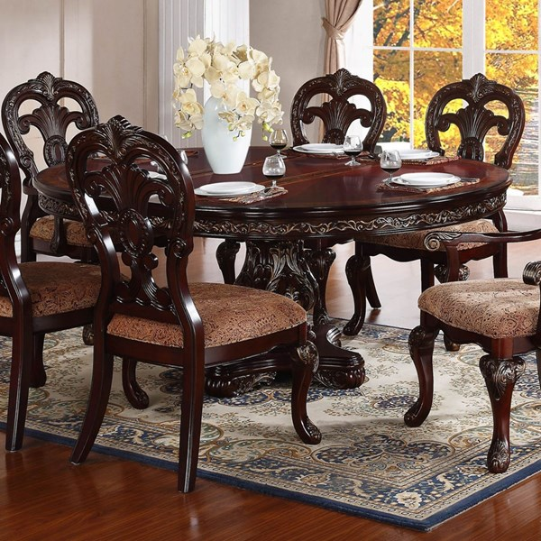 Deryn Park Traditional Cherry Wood Pedestal Oval Dining Table HE-2243-76