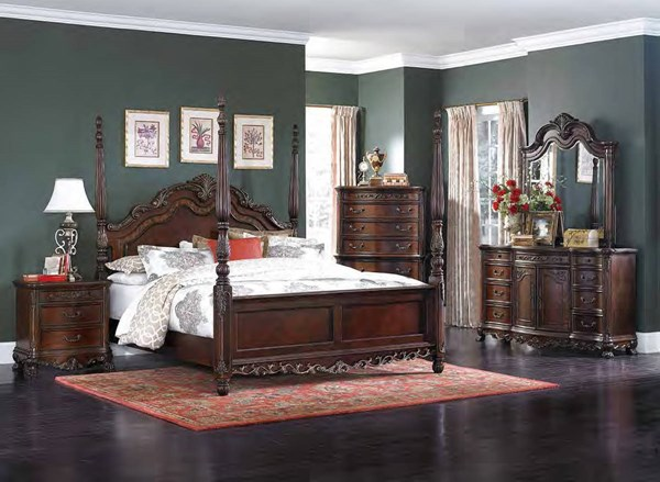 Deryn Park Cherry Wood Glass 2pc Bedroom Set W/King Poster Bed HE-2243-BR-S2