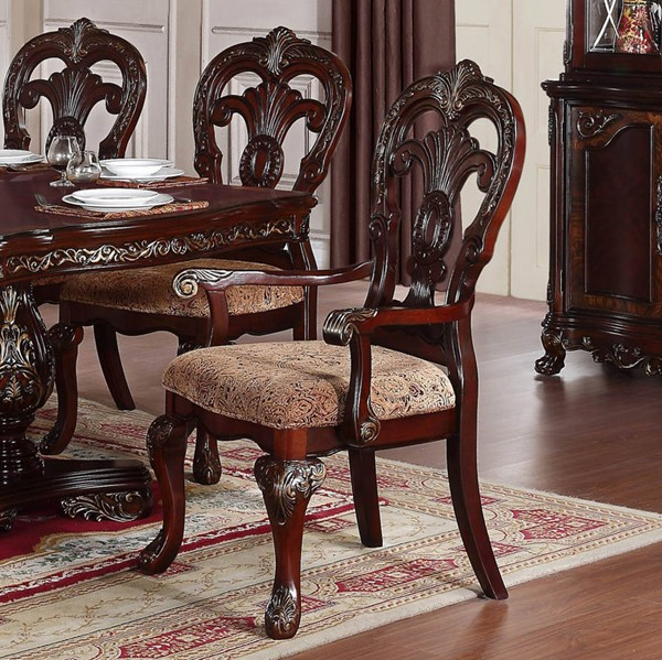 2 Deryn Park Traditional Cherry Wood Fabric Arm Chairs HE-2243A