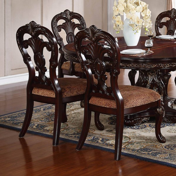 2 Deryn Park Traditional Cherry Wood Fabric Side Chairs HE-2243S