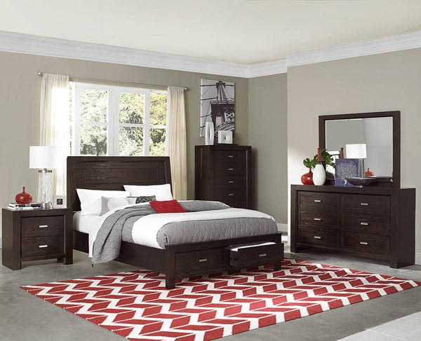 Breese Dark Cherry Wood King Platform Master Bedroom Set HE-2244-BR
