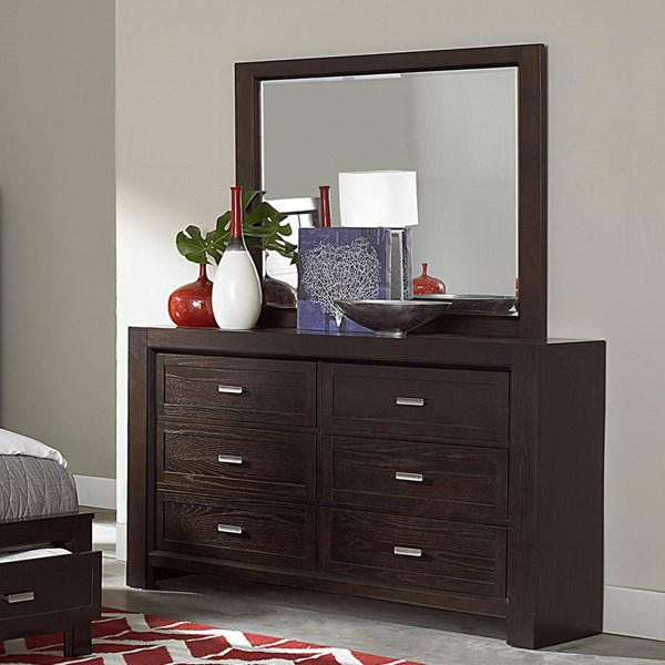 Breese Contemporary Dark Cherry Wood Dresser HE-2244-5