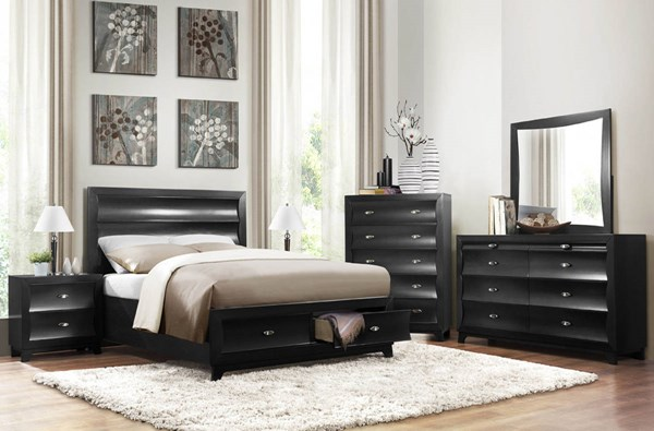 Zandra Contemporary Black Wood Platform Master Bedroom Set HE-2262-BR