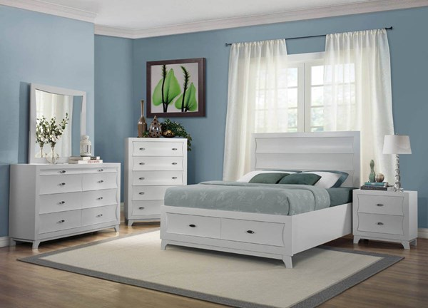 Zandra Contemporary White Wood Glass 2pc Bedroom Set W/King Bed HE-2262W-BR-S2