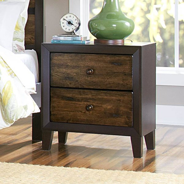 Arcola Transitional Espresso Wood Round Knobs Two Drawers Night Stand HE-2277-4