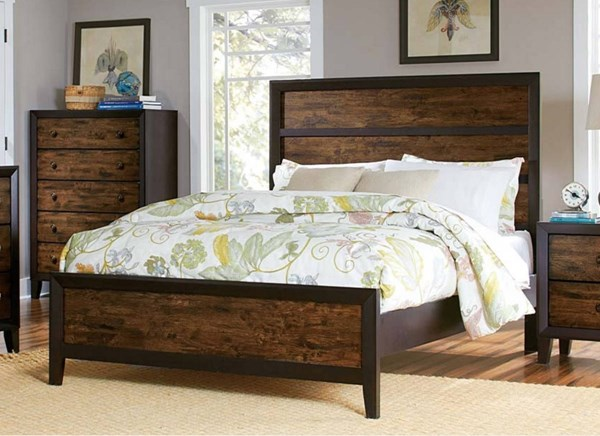 Arcola Transitional Espresso Solid Wood Panel Beds HE-2277-BEDS