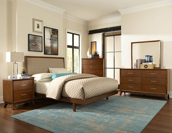 Soren Contemporary Light Cherry Wood Glass 2pc Bedroom Set W/King Bed HE-2278-BR-S2