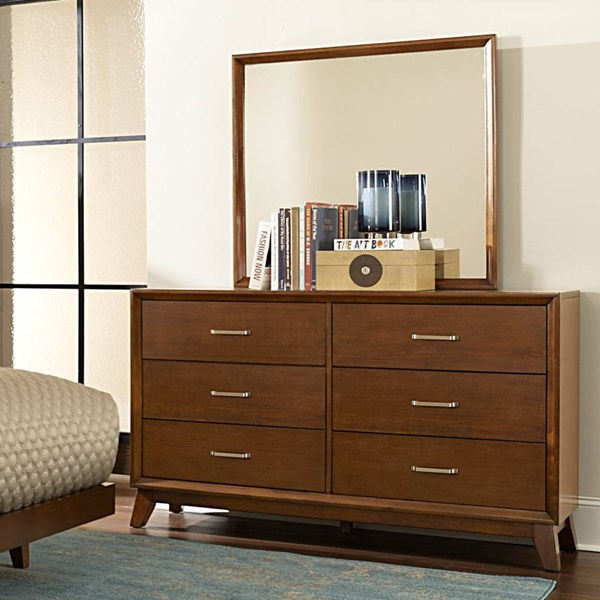Soren Contemporary Light Cherry Wood Glass Dresser & Mirror HE-2278-DRMR