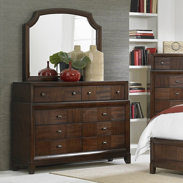 Carrie Ann Traditional Warm Cherry Wood Glass Dresser & Mirror HE-2295-DRMR