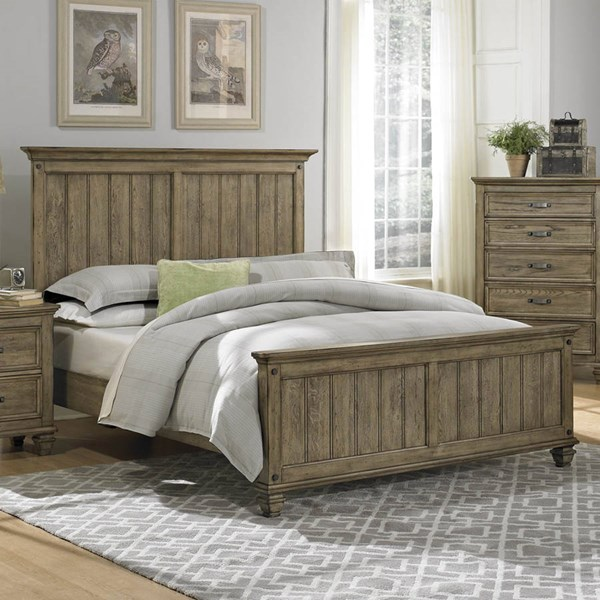 Sylvania Transitional Driftwood Wood Queen Bed HE-2298-1