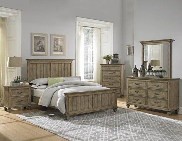Sylvania Transitional Driftwood Wood Glass 5pc Bedroom Set w/Queen Bed HE-2298-BR-S1