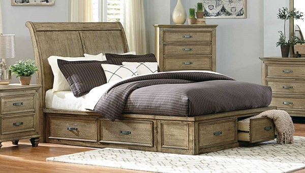 Sylvania Driftwood Wood Queen Sleigh Bed w/Footboard & Rail Storages HE-2298SL-1