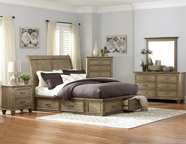 Sylvania Transitional Driftwood Sleigh Master Bedroom Set HE-2298SLK-BR