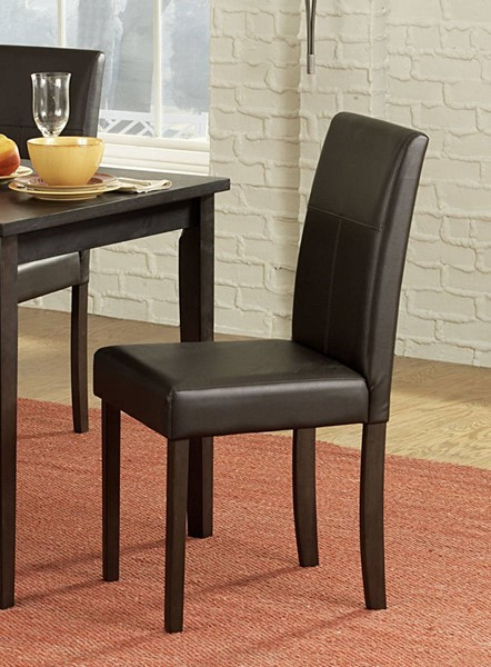 4 Dover Casual Rich Espresso Dark Brown Wood PVC Side Chairs HE-2434S
