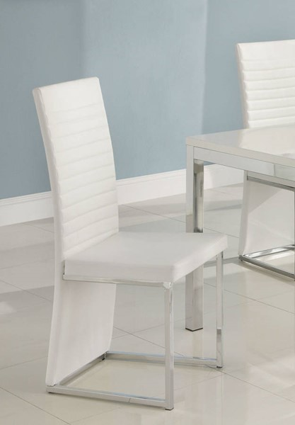 4 Clarice Contemporary White Metal PVC Side Chairs HE-2447WS