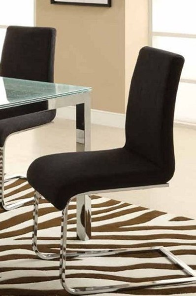 4 Knox Charcoal Fabric Chrome Metal Side Chairs HE-2448FAS-2P