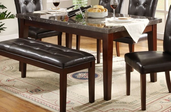 Decatur Espresso Dark Brown Wood Dining Table With Marble Top HE-2456-64
