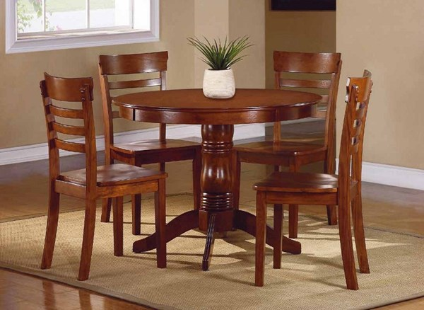 Wayland Traditional Antique Oak Wood 5pc Pack Dining Set HE-2457