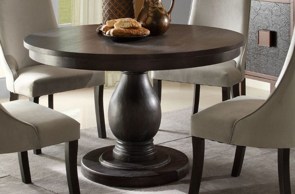Dandelion Traditional Distressed Dark Brownish Grey Wood Dining Table HE-2466-48