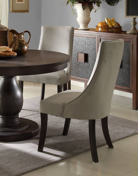 2 Dandelion Wood Distressed Dark Brownish Grey Fabric Side Chairs HE-2466S