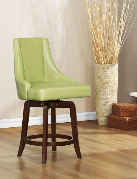 2 Annabelle Green Wood PU Counter Height Stools HE-2479-24GRS