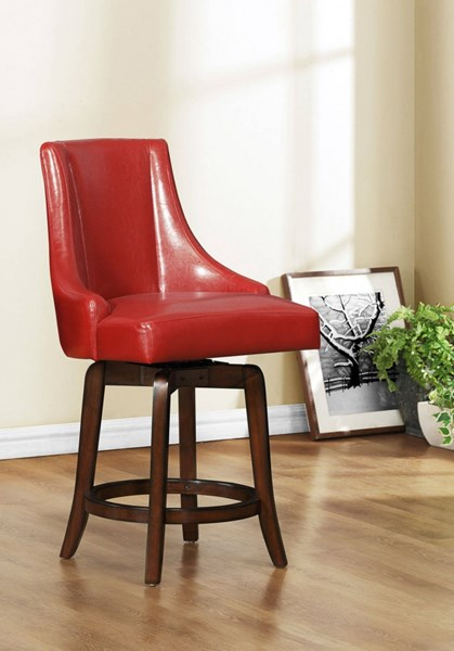 2 Annabelle Red Wood PU Counter Height Stools HE-2479-24RDS