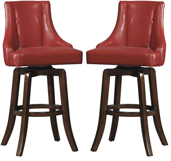 2 Home Elegance Annabelle Red Pub Stools HE-2479-29RDS