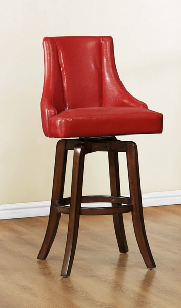 2 Annabelle Casual Red Wood Solid Back Pub Stools HE-2479-29RDS