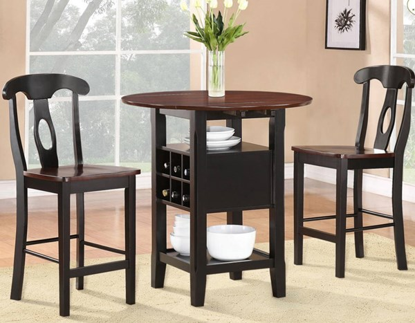 Atwood Black Rich Espresso Wood 3pc Pack Counter Height Set HE-2505BK-36