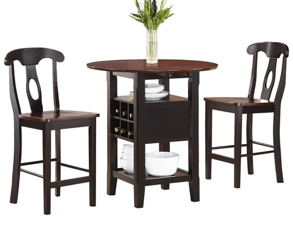 Home Elegance Atwood Black 3pc Pack Counter Height Set HE-2505BK-36