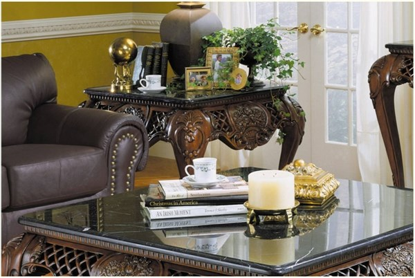 Gladstone Traditional Rich Dark Cherry Wood With Marble Top End Table HE-251-04