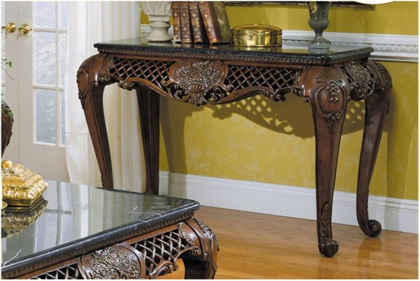 Gladstone Traditional Rich Dark Cherry Wood With Marble Top Sofa Table HE-251-05