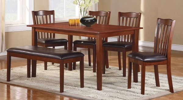 Home Elegance Schaffer Warm Cherry 6pc Pack Dinette Set HE-2513
