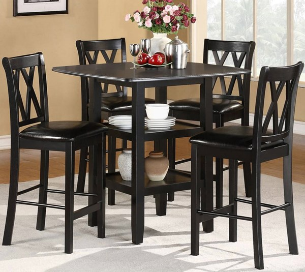 Norman Transitional Black Wood 5pc Pack Counter Height Set HE-2514BK-36
