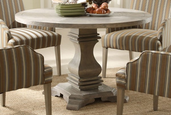 Euro Casual Rustic Weathered Wood Round Top Dining Table HE-2516-48