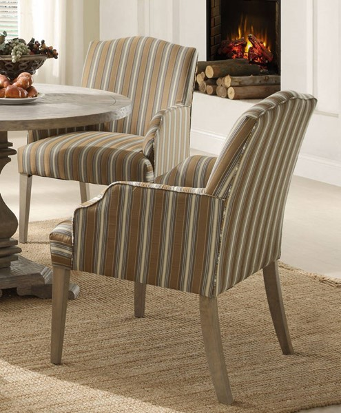 2 Euro Casual Traditional Rustic Weathered Wood Fabric Arm Chairs HE-2516A