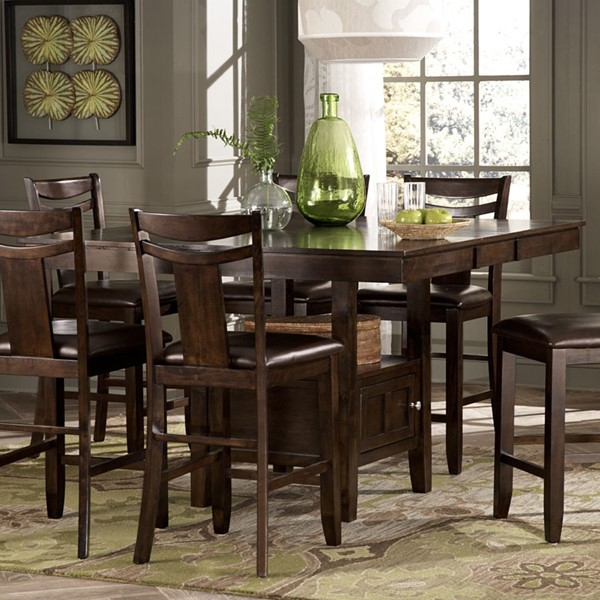 Broome Dark Brown Wood Counter Height Table With Storage Base HE-2524-36