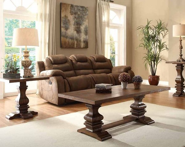 Marie Louise Traditional Brown Wood 3pc Coffee Table Set HE-2526-OCT-S