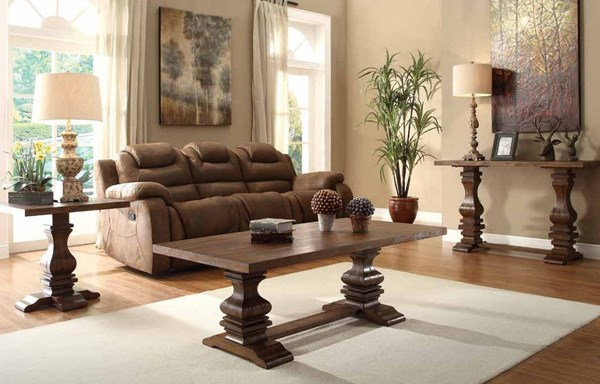 Marie Louise Traditional Brown Wood Coffee Table Set HE-2526-OCT