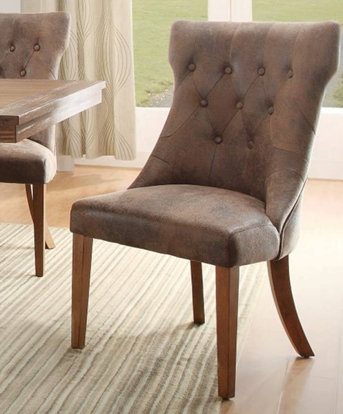 2 Marie Louise Rustic Weathered Oak Wood Fabric Dining Chairs HE-2526S